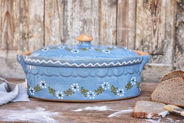 Terrine ovale n°2, bleu clair, 'Petites Fleurs Zig Zag'