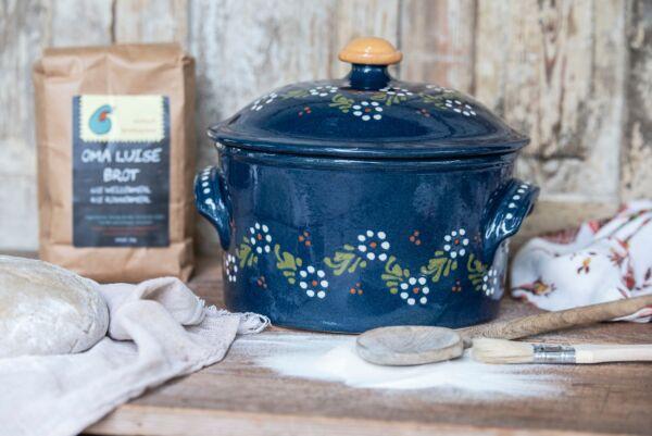 Cocotte, ø 22 cm, bleu, 'Petites Fleurs Zig Zag'
