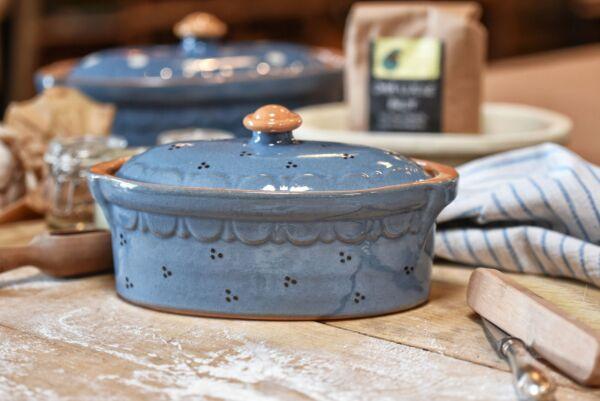 Terrine ovale n°5, bleu clair, 'Plumetis bleu'