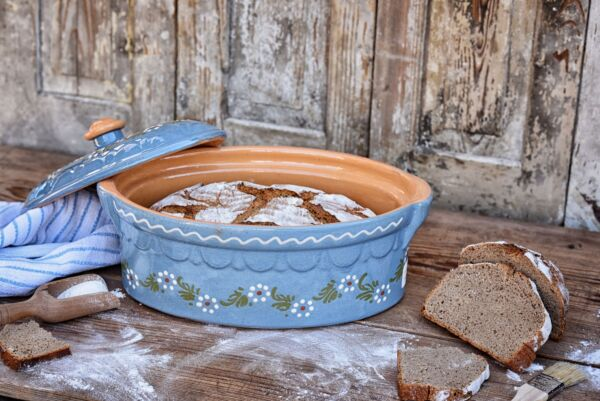 Terrine ovale n°3, bleu clair, 'Petites Fleurs Zig Zag'