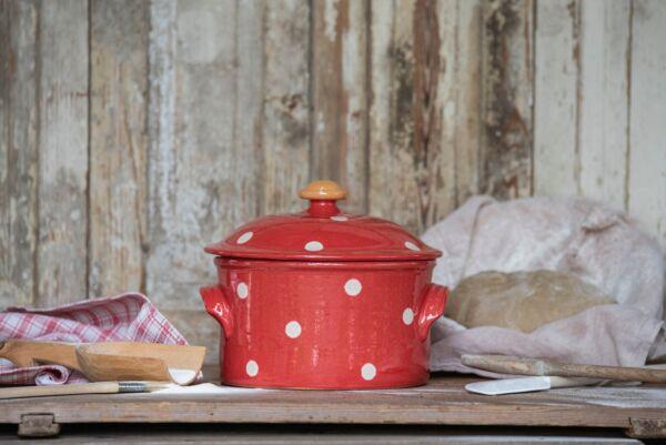Cocotte, ø 20 cm, rouge pois blanc