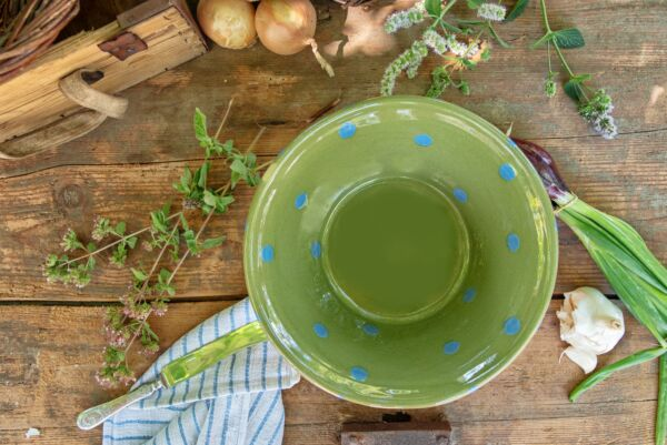 Terrine à pâte,  ø 27 cm, vert pois bleu clair