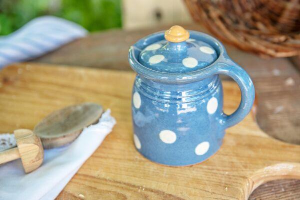 Crinoline, 1/4L, bleu clair pois blanc