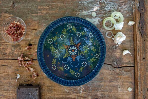 Plat moule à tarte, ø 32 cm, bleu, 'Grande Fleur centrale Petites Fleurs Etoile'