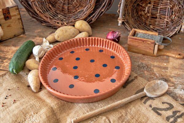 Plat moule à tarte, ø 32 cm, rouge brique pois bleu