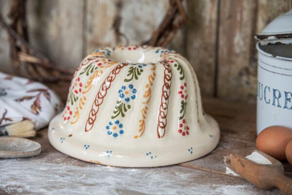 Kougelhopf, ø 22 cm, blanc, 'Petites Fleurs rouge et bleu clair'