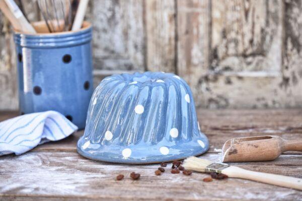 Kougelhopf, ø 20 cm, bleu clair pois blanc