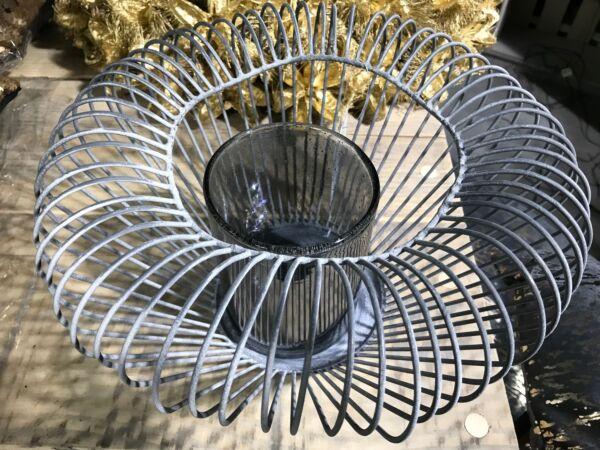 Windlicht 'Drahtkorb', mit Glas
