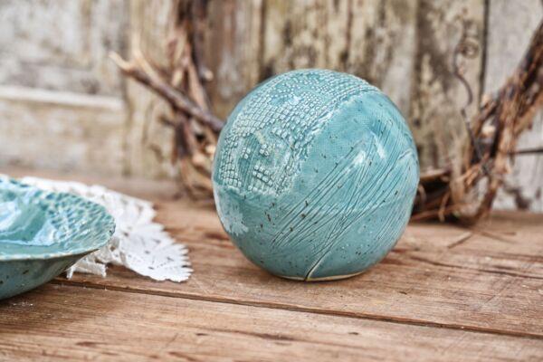 Keramik-Kugel 'Spitzenbordüre', bleu canard