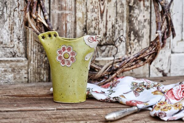 Blumenvase 'Poulet Vert', anis matt