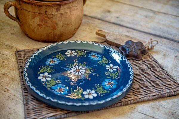 Plat à tarte, ø 31 cm, bleu, 'Grandes Fleurs 2 couleurs'