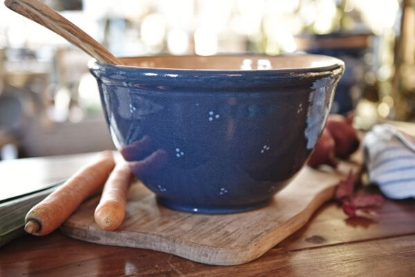Saladier bombé, ø 28 cm, bleu, 'Plumetis' bleu clair