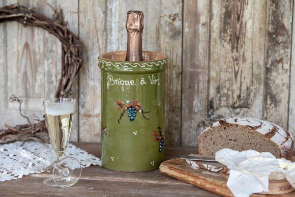 Brique à vin, bouteille 1L, vert, 'Raisins Jetés'