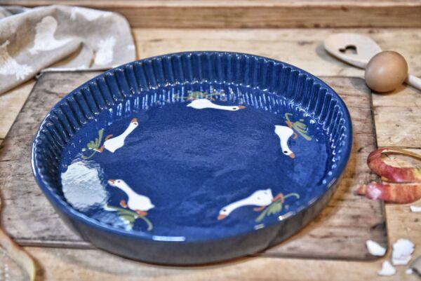 Plat moule à tarte, ø 32 cm, bleu, 'Oies qui courent'
