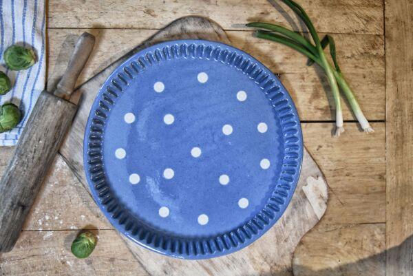 Plat moule à tarte, ø 25 cm, bleu clair pois blanc
