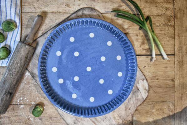 Plat moule à tarte, ø 32 cm, bleu clair pois blanc