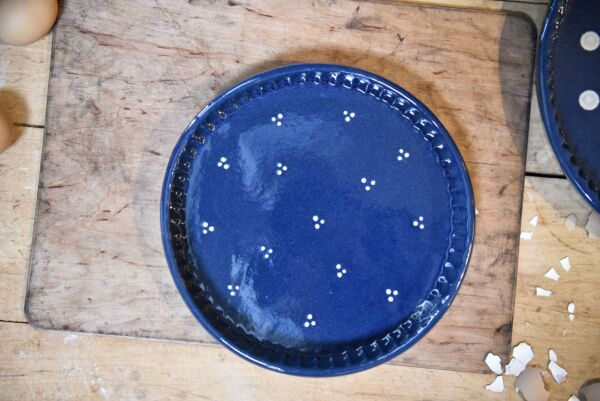 Plat moule à tarte, ø 25 cm, bleu, 'Plumetis'