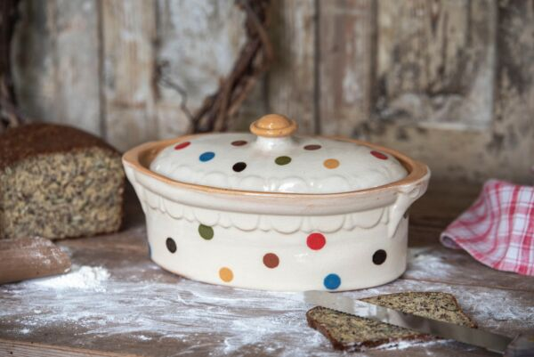 Terrine ovale n°5, blanc pois multicolores