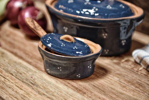 Terrine ovale n°10, bleu, 'Plumetis'
