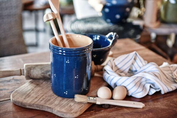 Pot à couverts, bleu, 'Plumetis'