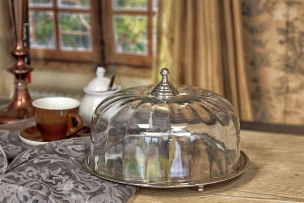 Tortenplatte mit Glocke, 29x29x18 cm