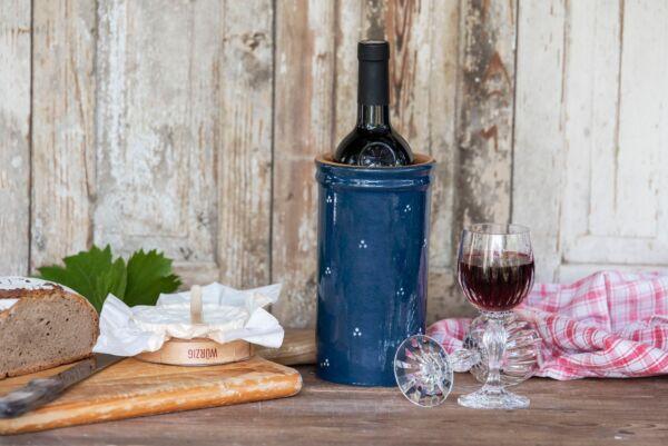 Brique à vin, bouteille 75cl, bleu, 'Plumetis'