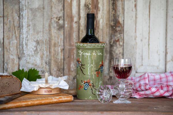 Brique à vin, bouteille 75cl, vert, 'Raisins Jetés'