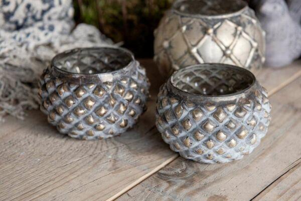 Teelicht aus Glas, rundlich, silber / zementfarben