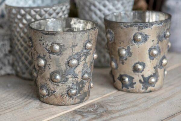 Teelicht aus Glas, Becher, silber / zementfarben